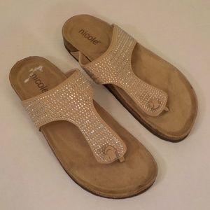 Nicole beige embellished Tong Sandals Size 7.5M